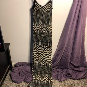 Black and Nude Lace Chevron Maxi Dress Sheer